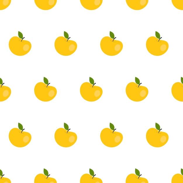 Modèle sans couture simple avec des pommes jaunes. fruits, vitamines, végétarisme, alimentation saine, alimentation, grignotage, récolte. illustration dans un style plat