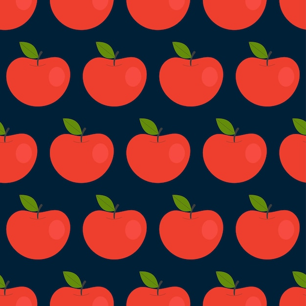 Modèle sans couture simple avec des pommes rouges. fruits, vitamines, végétarisme, alimentation saine, alimentation, grignotage, récolte. illustration dans un style plat