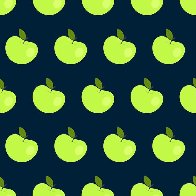Modèle sans couture simple avec des pommes vertes. fruits, vitamines, végétarisme, alimentation saine, alimentation, grignotage, récolte. illustration dans un style plat