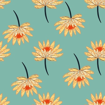 Modèle sans couture avec de simples fleurs de marguerite orange