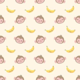 Modèle sans couture de singe et de banane mignon