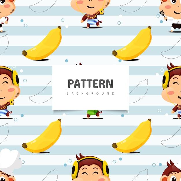 Modèle sans couture avec singe et banane