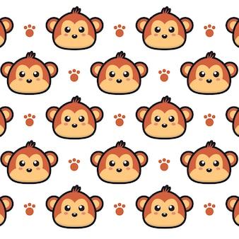 Modèle sans couture de singe de dessin animé mignon