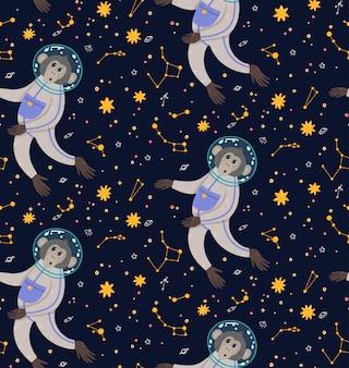Modèle sans couture avec singe mignon dans l'espace. singe dans le cosmos entouré d'étoiles.