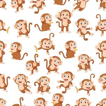 Modèle sans couture avec le singe avec la pose différente