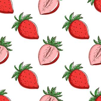 Modèle sans couture sith fraise fraîche