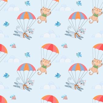 Modèle sans couture de skydiver chat.