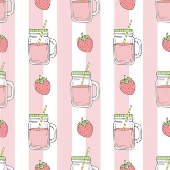 Modèle sans couture de smoothie aux fraises sur fond