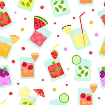 Modèle sans couture de smoothies de fruits tropicaux d'été frais cocktails drôles ananas fraise