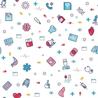 Modèle sans couture de soins médicaux avec des icônes de médecine de ligne