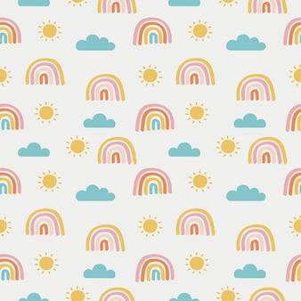Modèle sans couture soleil, arc en ciel et nuages. fond d'écran kawaii sur fond blanc. bébé mignon couleurs pastel.