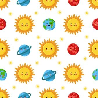 Modèle sans couture avec soleil mignon et planètes