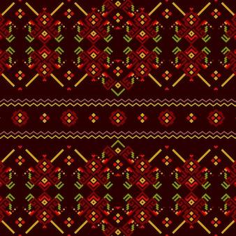 Modèle sans couture songket en rouge et vert