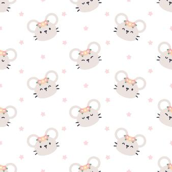 Modèle sans couture de souris mignon