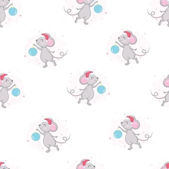 Modèle sans couture avec une souris mignonne.