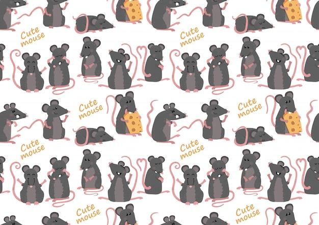 Modèle sans couture avec des souris mignonnes
