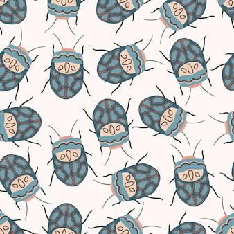 Modèle sans couture avec sphaerocoris annulus. illustration d'insectes stylisés picasso bug