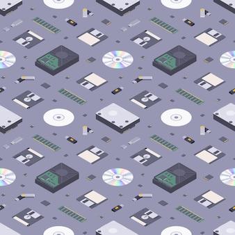 Modèle sans couture de stockages de mémoire numérique plat isométrique
