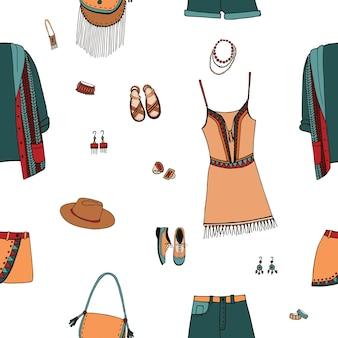 Modèle sans couture de style bohème. vêtements bohèmes et gitans, accessoires. fond coloré dessiné à la main.