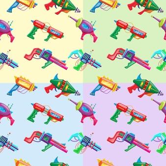 Modèle sans couture de style dessin animé quatre couleurs vecteur de blasters colorés pour enfants.