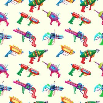 Modèle sans couture de style dessin animé de vecteur de blasters colorés pour enfants.