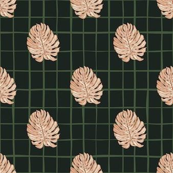 Modèle sans couture de style géométrique abstrait avec des formes simples de monstera rose. fond noir à carreaux.