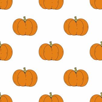 Modèle sans couture avec style mignon citrouille doodle. récolte d'automne. contexte pour coudre des vêtements pour enfants et imprimer du tissu. papier d'emballage vacances d'halloween.