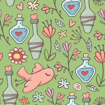 Modèle sans couture de style mignon doodle avec des potions d'amour, des oiseaux et des fleurs