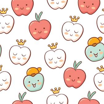 Modèle sans couture de style mignon pomme doodle