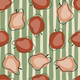 Modèle sans couture de style moderne avec des formes de prune rouge pâle doodle