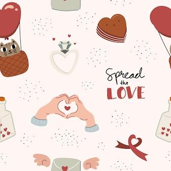 Modèle sans couture de style scandinave colorful love doodle dessiné à la main