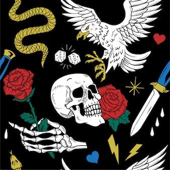 Modèle sans couture de style vintage avec aigle sauvage, rose, crâne, rose, serpent, couteau. illustration d'impression dessinée à la main.