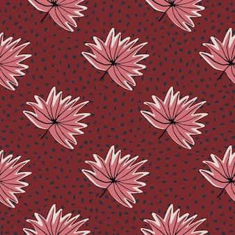 Modèle sans couture stylisé avec des feuilles tropicales dessinées à la main. fond rouge à pois et feuillage de contour rose.