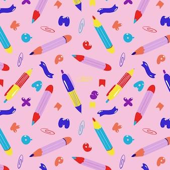 Modèle sans couture de stylos et crayons.