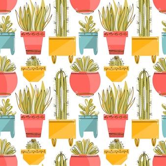 Modèle sans couture avec succulentes et cactées dans des pots colorés.