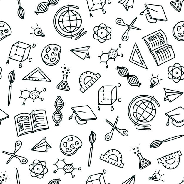 Modèle sans couture sur le sujet de retour à l'école objets dessinés à la main nécessaires à l'école