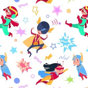 Modèle sans couture de super-héros enfants.