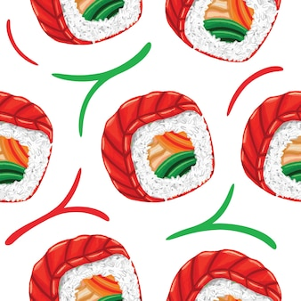 Modèle sans couture de sushi dans un style design plat