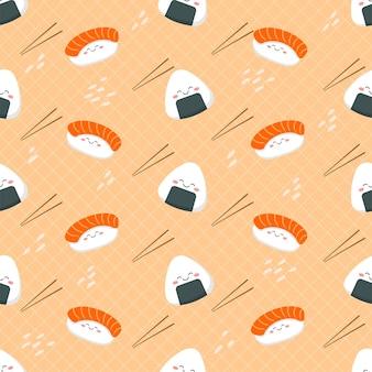Modèle sans couture de sushi dessin animé mignon