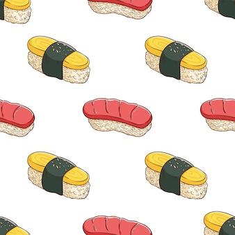 Modèle sans couture de sushi dessiné main