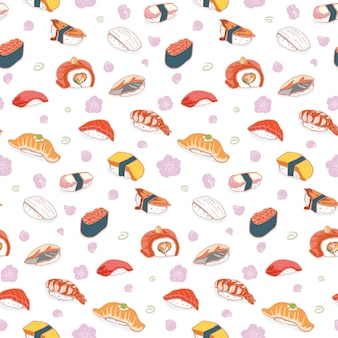 Modèle sans couture de sushi dessinés à la main
