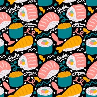 Modèle sans couture de sushi japonais street food