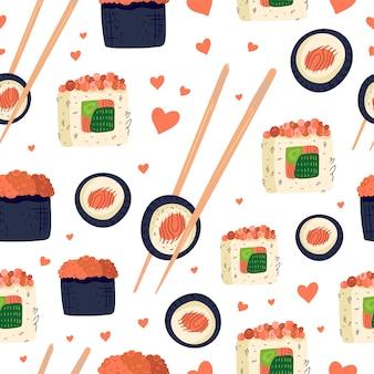 Modèle sans couture de sushi.