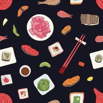 Modèle sans couture avec des sushis japonais, des sashimis et des petits pains sur une surface noire