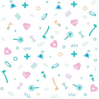 Modèle sans couture de symbole médical. foret dentaire, seringue, pilule, fiole, adn