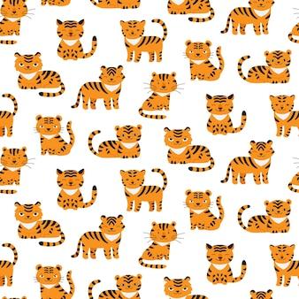 Modèle sans couture avec le symbole mignon de tigres de la nouvelle conception de tissu d'enfant de l'année 2022