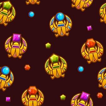Modèle sans couture symbole scarabée égyptien avec des pierres précieuses colorées, icône dorée.