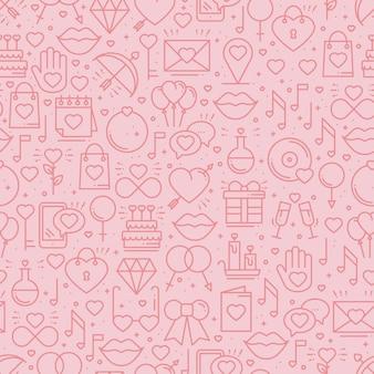 Modèle sans couture avec symboles d'amour