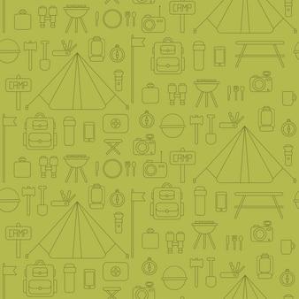 Modèle sans couture de symboles et d'icônes de matériel de camping