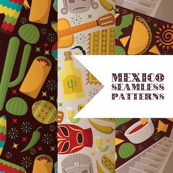 Modèle sans couture de symboles mexique